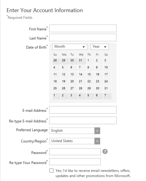 Account Information on Dream Spark