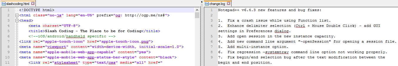 Multi Document View in Notepad++