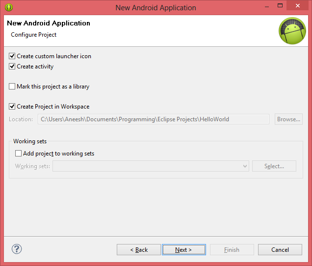 Android Settings for New Application