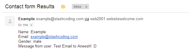 Screenshot of Email generated by this contact form