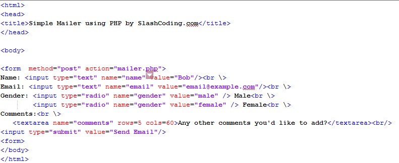 Complete HTML code for the Contact Form