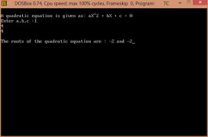 Quadratic Equation Output Screenshot