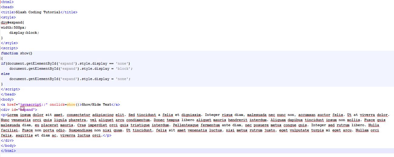 HTML Code view
