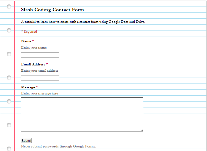 Learn how to Create a Simple Contact Form using Google Docs