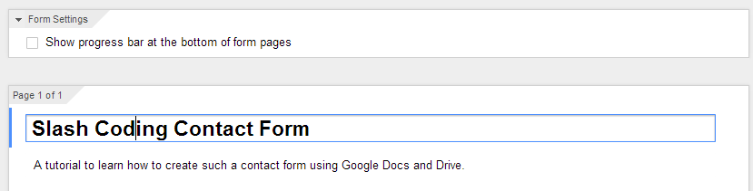 Editing Title of Google Form