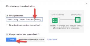 Google Form Response Spreadsheet