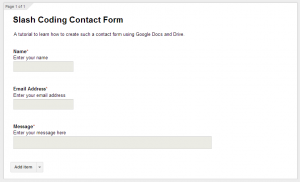 Slash Coding Contact Form