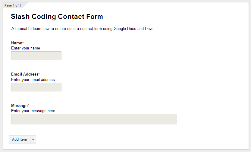 Slash Coding Contact Form